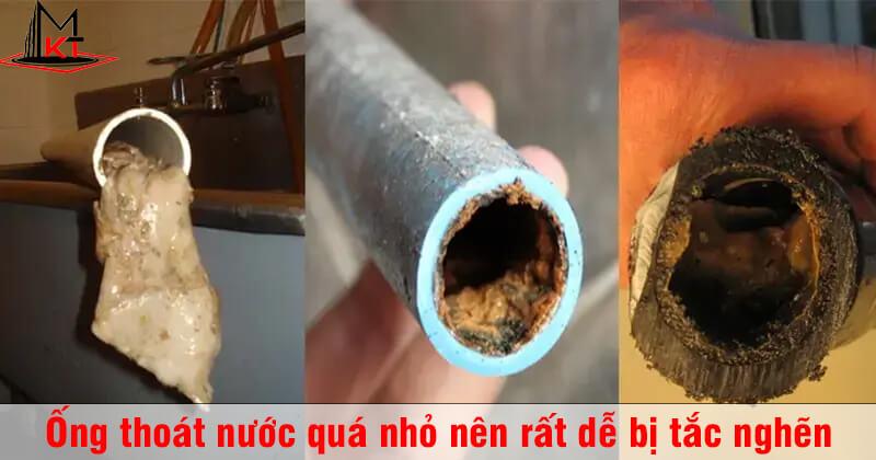 Cống bị nghẹt do sử dụng đường ống quá nhỏ