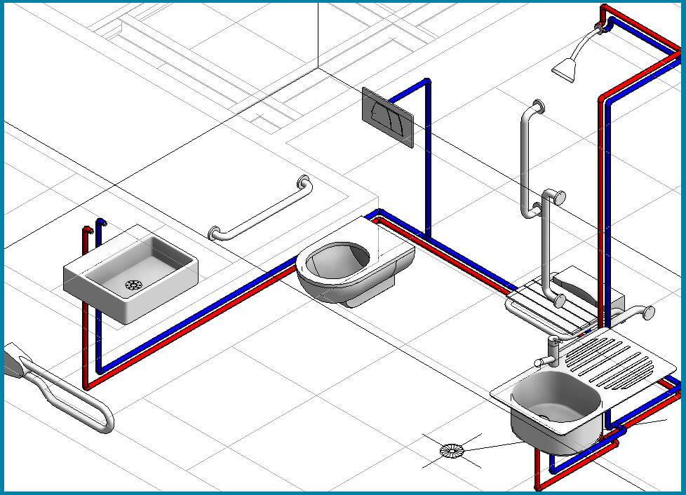 Bản vẽ điện nước nhà vệ sinh