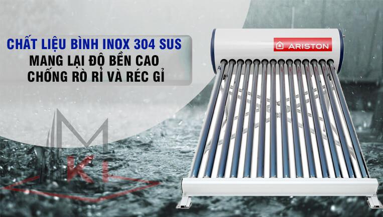 Bình năng lượng Ariston được làm từ INOX, chất liệu bền bỉ