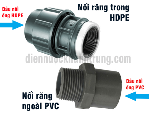Cach noi ong nuoc HDPE voi ong PVC
