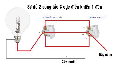 Sơ đồ 2 công tắc 3 cực 1 bóng đèn