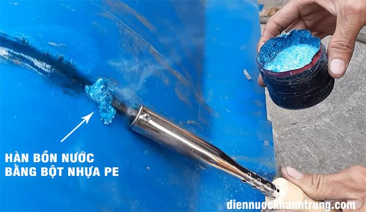 Hàn bồn nước với bột nhựa PE